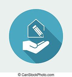 casa, progetto, design-, minimo, moderno, icona