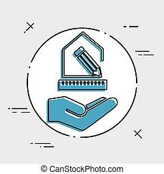 casa, progetto, -, disegno interno, servizio, -, vettore,...