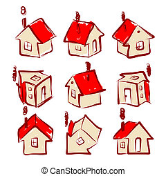 casa, projeto fixo, seu, ícones