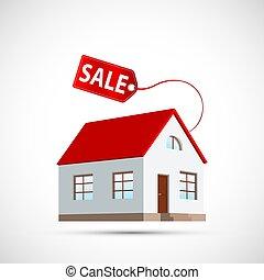 casa, propiedad, tag., sale., icono, precio