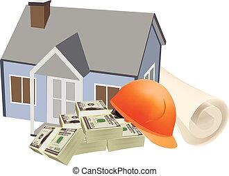 casa, proposta, símbolo, moeda corrente