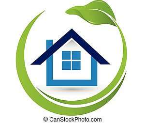 casa, propriedade, logotipo, leaf-, real