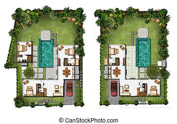 casa, propuesta, planificación