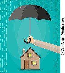 casa, proteção, conceito