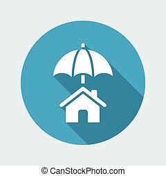 casa, proteção, -, mínimo, vetorial, ícone