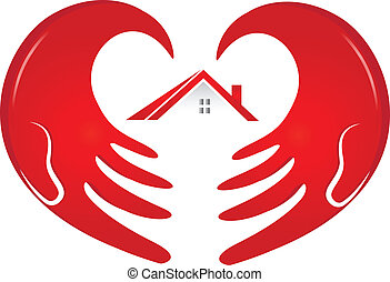 casa, protegendo, mãos, logotipo