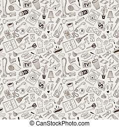 casa, -, pulizia, doodles