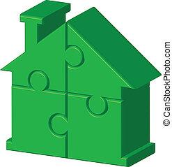 casa, puzzle, verde