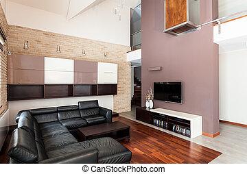 casa, quarto moderno, vivendo