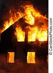 casa, queimadura