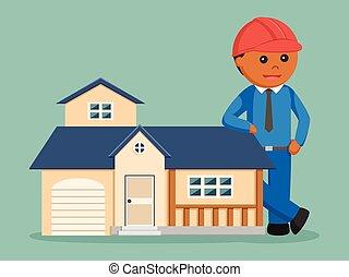 casa, réplica, africano, ingeniero