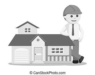 casa, réplica, ingeniero