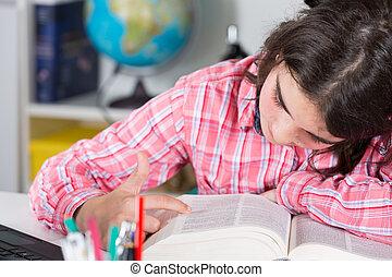 casa, ragazza adolescente, studiare