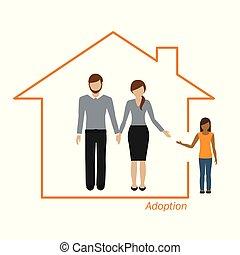 casa, ragazza, adozione, famiglia
