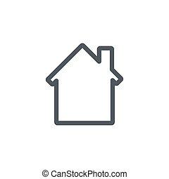 casa, real, icon., ilustração, concept., isolado, vetorial, desenho, experiência., apartamento, propriedade