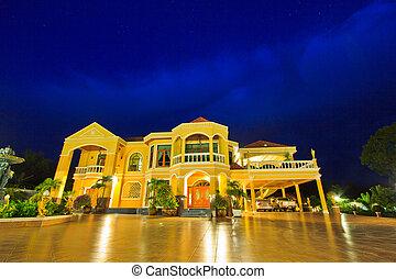 casa, recurso, luxo, tempo, alvorada, noturna
