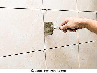 casa, renovação, -, azulejos, ligado, parede