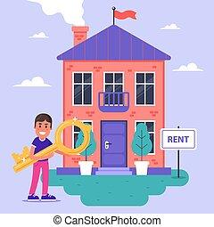 casa, rent., rents, padrone casa, mattone