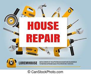 casa, reparación, herramientas, cartel