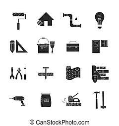 casa, reparar, ícones