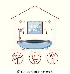 casa, reparar, banheira, lar, ícones