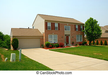 casa, residenziale, storia, mattone, due