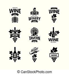 casa, restaurante, vino, vector, colección, club, cellar., logotipo, aislado, tienda, tienda, moderno, taberna