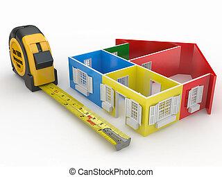 casa, resumen, cinta, tridimensional, medida