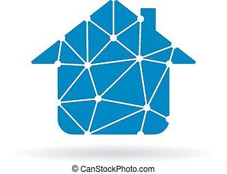casa, rete, logotipo