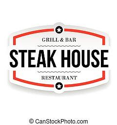 casa, ristorante, segno, bistecca, vendemmia