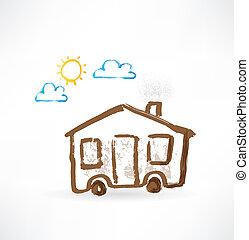casa, rodas, grunge, icon.