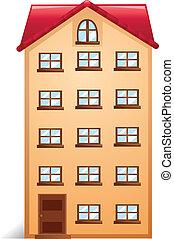 casa, rojo, techo