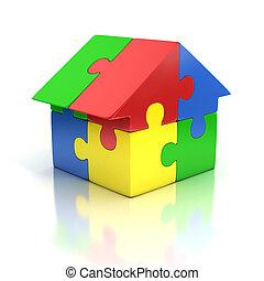 casa, rompecabezas, ilustración, 3d