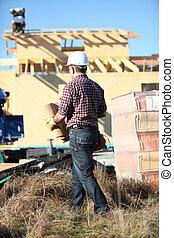 casa, roofer, trabalhando, inacabado