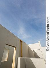 casa, roofless, elaboración, prefabricado