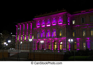 Casa Rosada (Pink House) by night