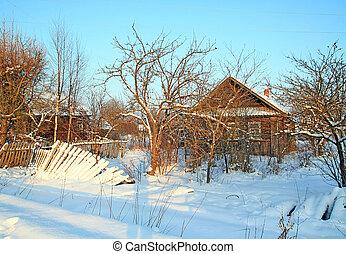 casa, rural, abandonado, aldea