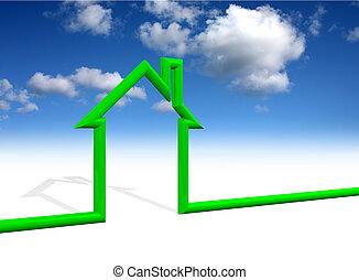 casa, símbolo, con, cielo, plano de fondo