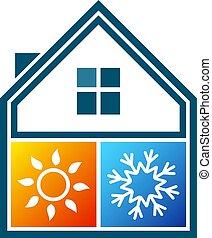 casa, símbolo, condicionamento, ar