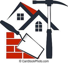 casa, símbolo, construção