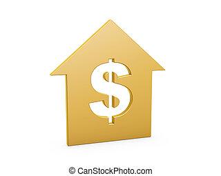 casa, símbolo, dólar