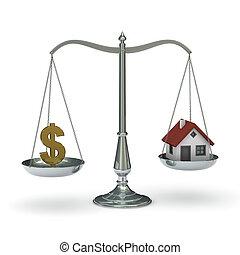 casa, símbolo, dólar, escalas