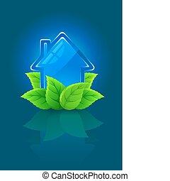 casa, símbolo, ecológico, hojas verdes, icono