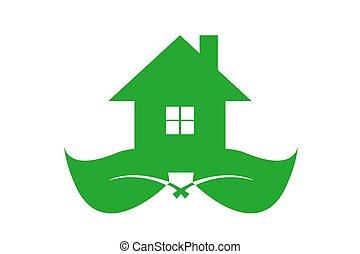 casa, símbolo, ecología, verde