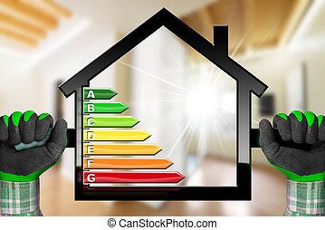 casa, símbolo, -, eficiência, modelo, energia
