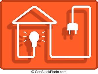 casa, símbolo, iluminación