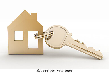 casa, símbolo, llave, modelo, conjunto, 3d