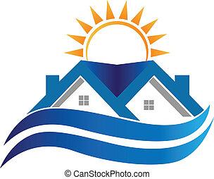 casa, símbolo, logotipo