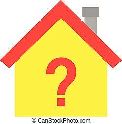 casa, símbolo, marca pergunta