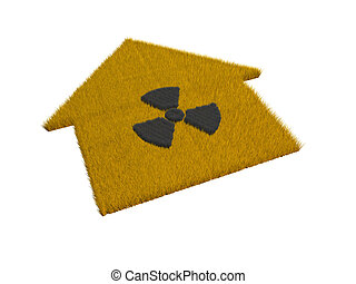 casa, símbolo, radioactivo